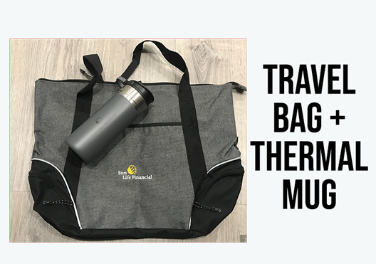 Stainless steel travel mug and travel bag